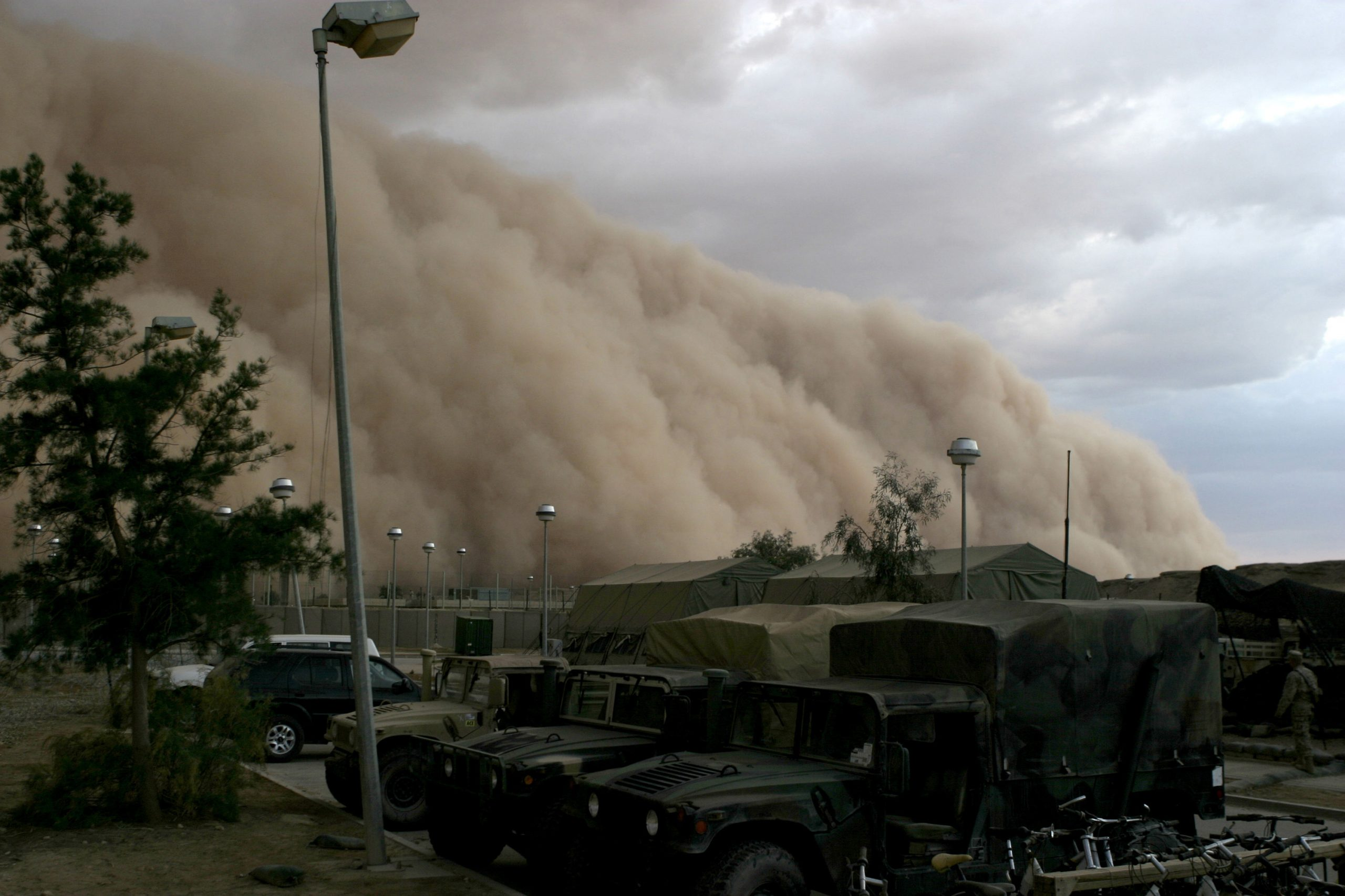 Sandstorm at an army base