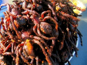 Fried tarantulas strange food
