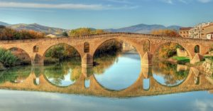 a bridge at the start of the camino de Santiago near pamplona