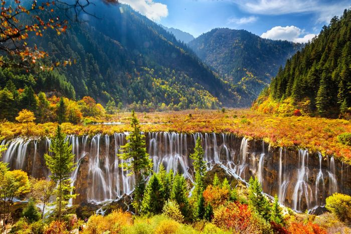 Nuorilang Waterfall, Jiuzhaigou National Park, China