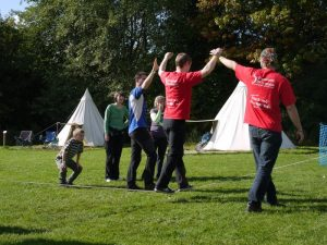 Learning to slack line at The Big Shakedown