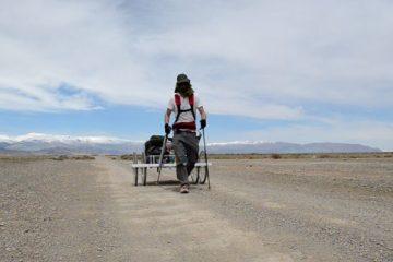 Ash Dykes with trailer on Mongolian Trek
