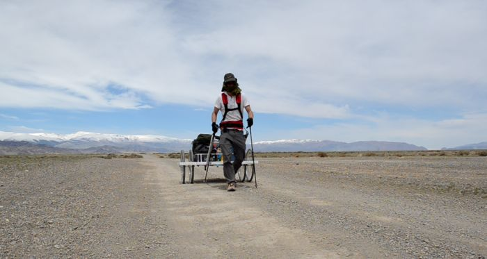 Ash Dykes with trailer on Mongolian Trek