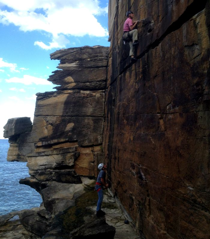 Climbing at Diamond Bay, Sydney, Australia