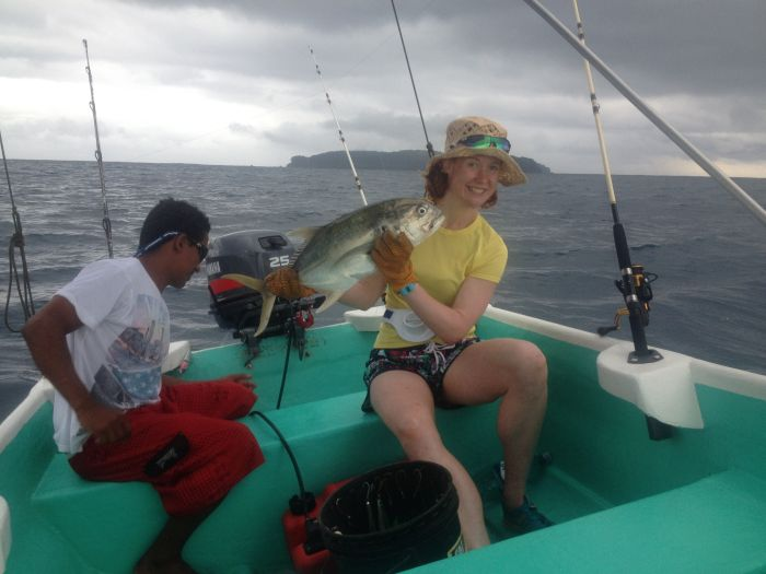 Claire Maxted fishing in Costa Rica