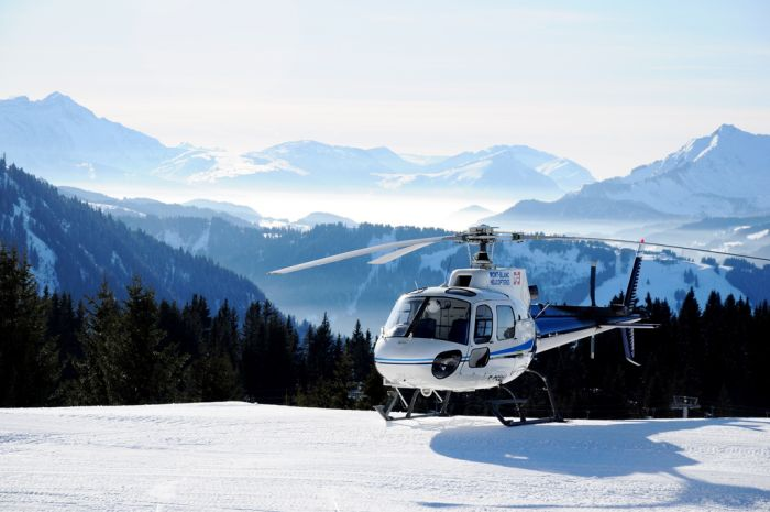 Helicopter ride in the Alps