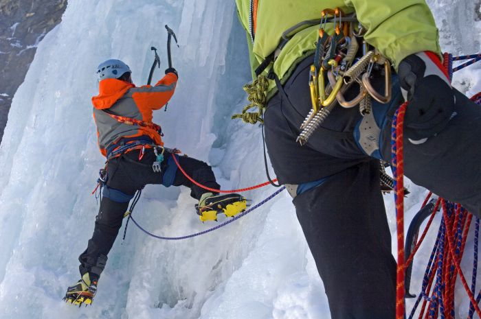 Ice climbing in Tignes