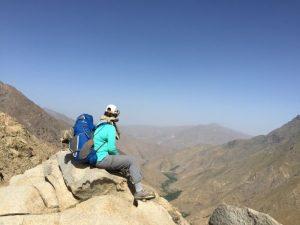 Alice Morrison descent from Tischka Plateau, Morocco