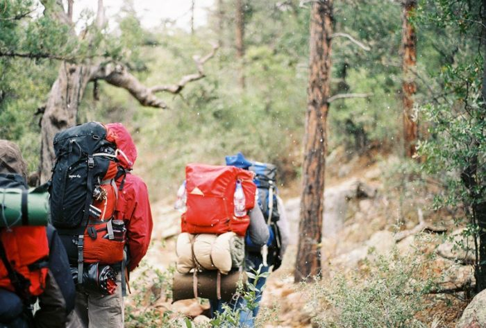 Hiking with rucksacks