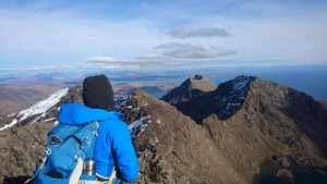 Rona looking back from summit of Sgurr Alistair, Scotland