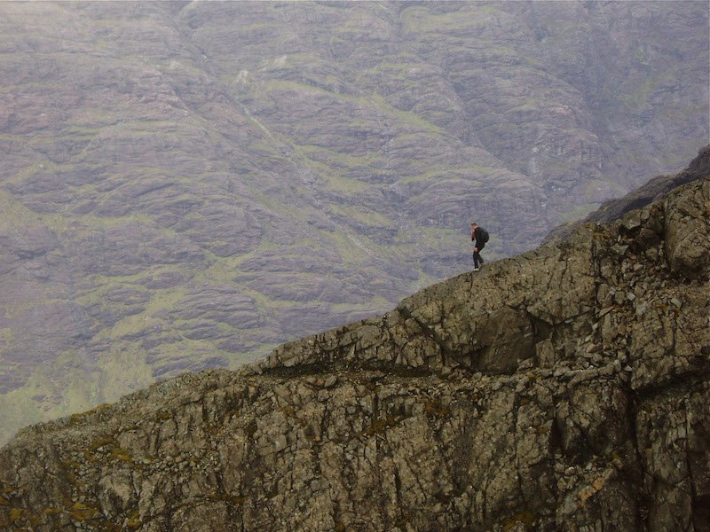 lone walker on Cuillin ridge traverse