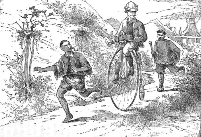 Thomas Stevens on his penny farthing