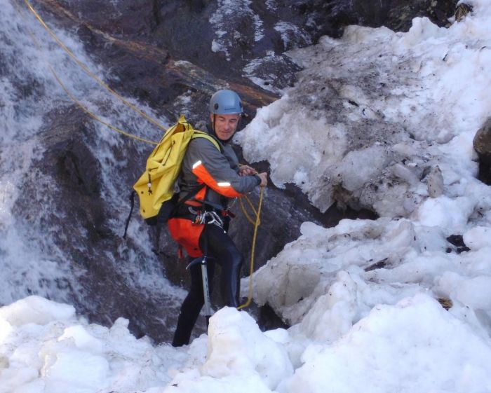 Winter canyoning in the Pyrenees Mountains