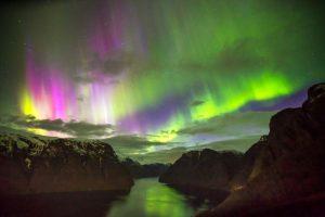 Aurora Borealis over the Aurlandsfjord