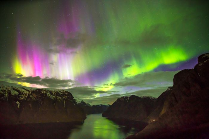 Aurora Borealis over the Aurlandsfjord