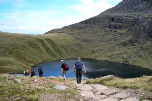 Climbing down Scafell Pike, The Lake District, UK