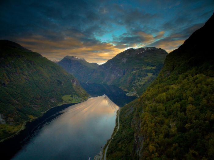 Geirangerfjord at sunrise