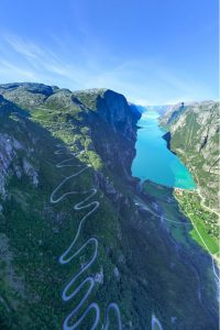 Lysefjord by helicopter shows Norway's craziest road