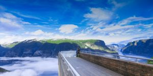 Stegastein Viewpoint with low fog over the fjord