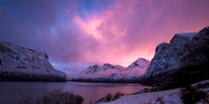 Sunset by the Aurlandsfjord in winter
