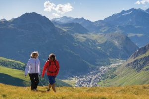 Couple hiking above Val d'Isere