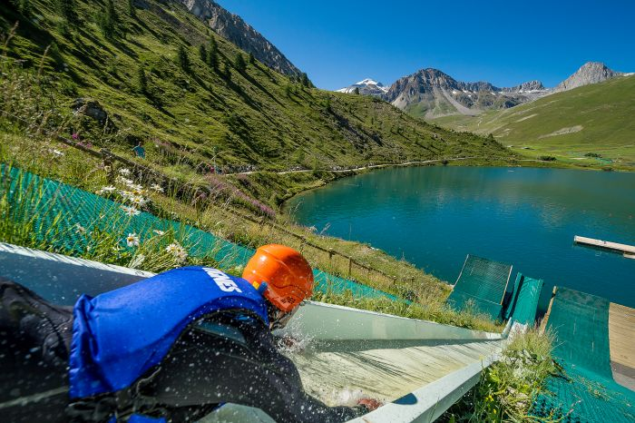 Water slide into Tignes Lake