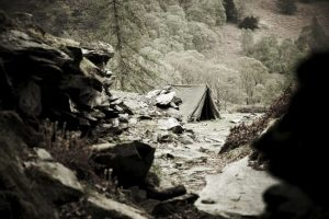 Millican Dalton's cave on Castle Crag, Borrowdale, England