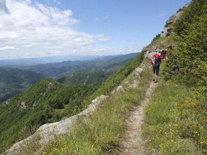 Trekking to Valico Tre Faggi, Apennine, Italy