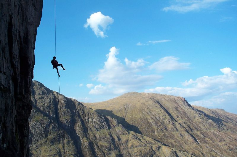 Abseiling off Freak Out on Glen coe