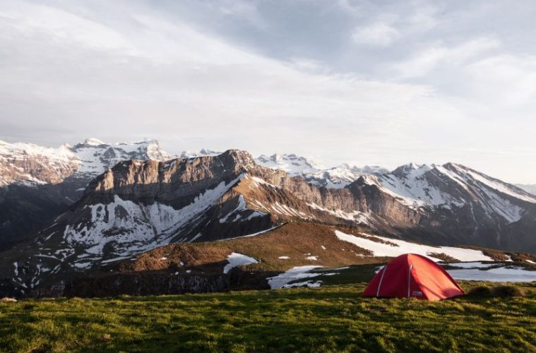 Wild camping in the mountains