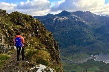 Scrambling Aonach Eagach ridge in Scotland