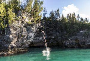 Cliff jumping in Bermuda
