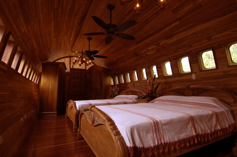 Inside the aeroplane hotel in Costa Rica