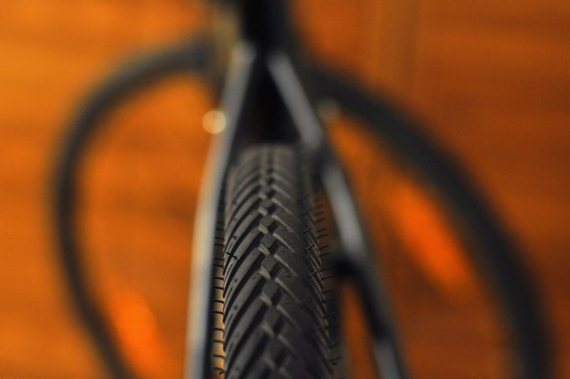 Tyre tread on bicycle