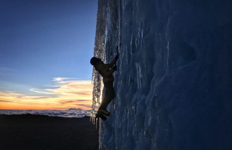 Jon Gupta ice climbing