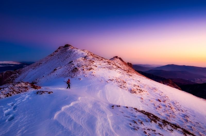 A hiker in the Romanian mountains
