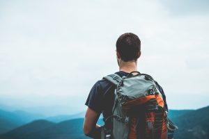 Hiking with rucksack
