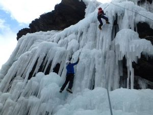 Ice climbing in the French Alps
