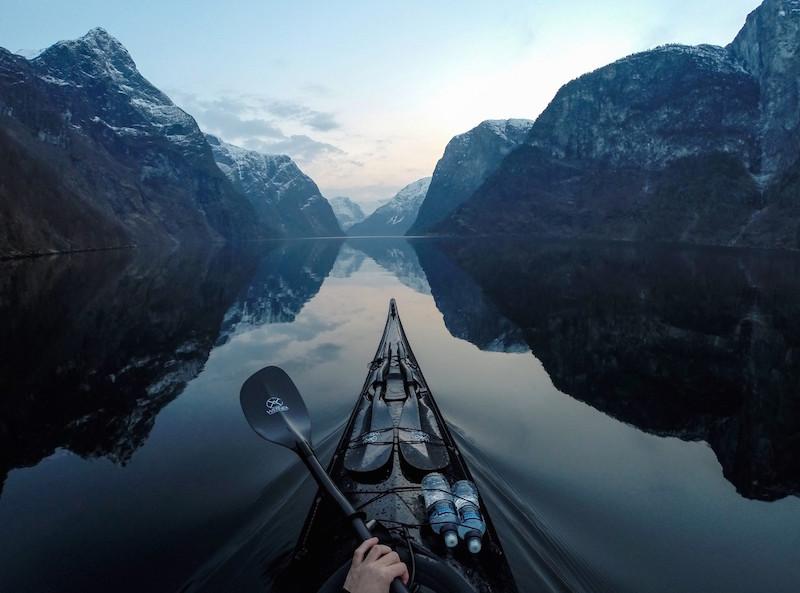 Kayaking Naroyfjorden in Norway