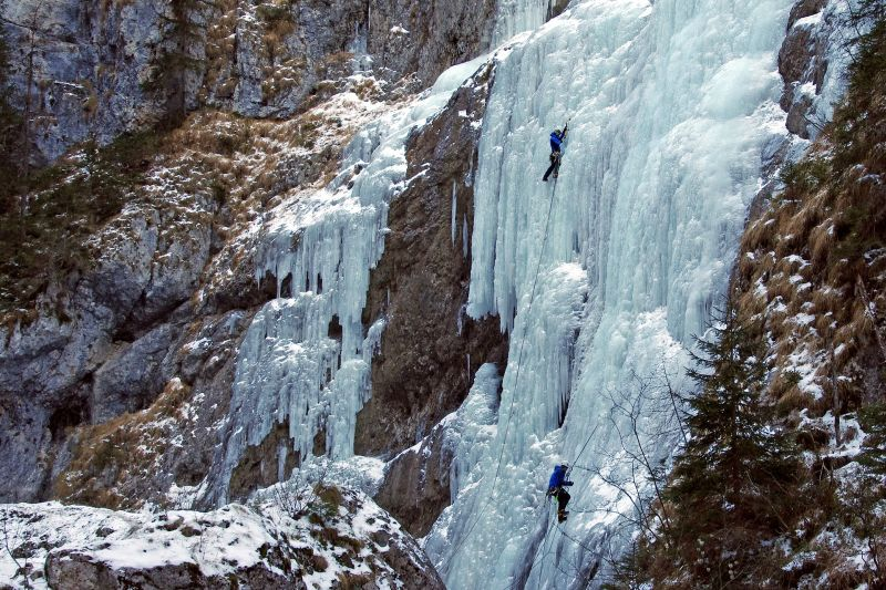 Ice climbing a watefall