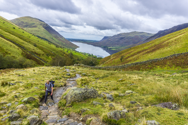 Hiking Scafell Pike with Wastwater behind