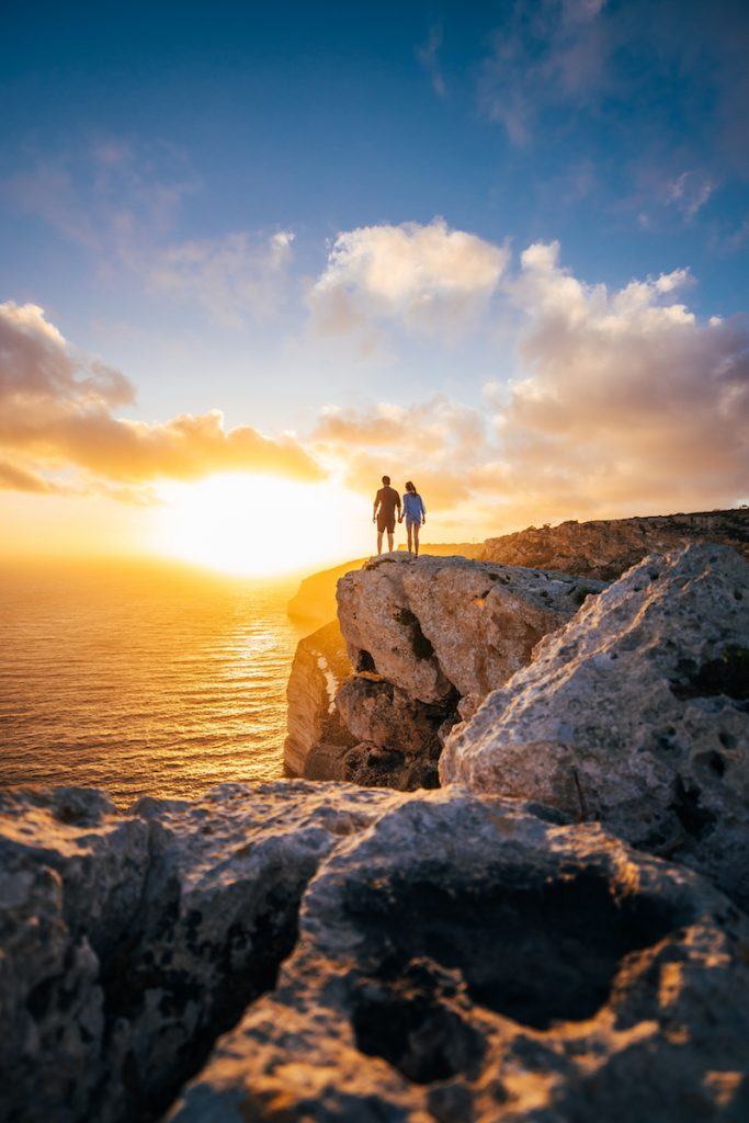 Hiking on the cliffs in Malta