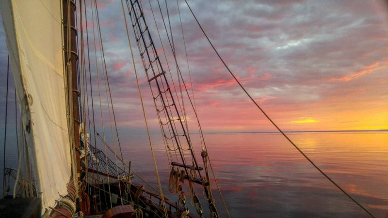 Sunset tall ship