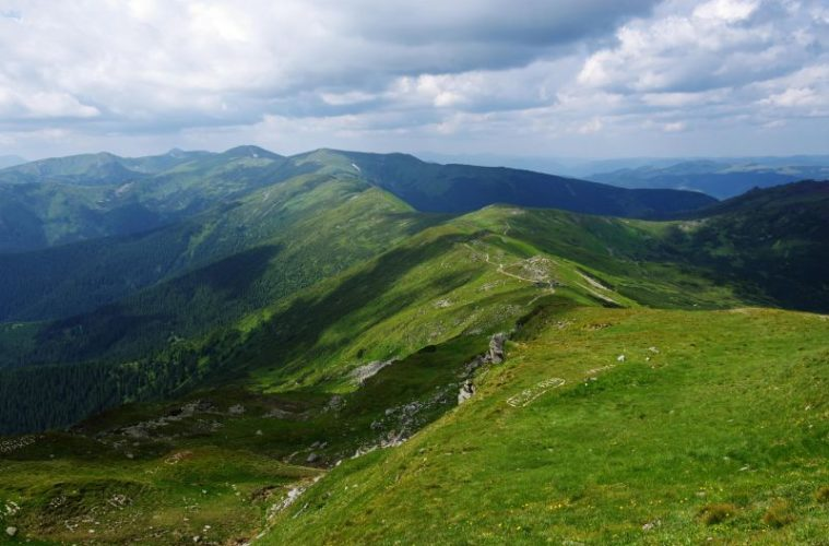 Carpathian mountains landscape in Ukraine