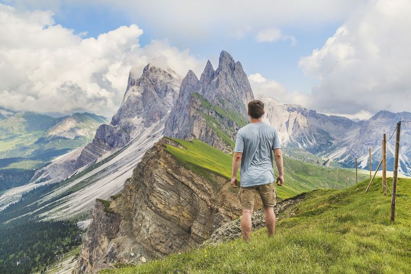 Man in the mountains, Italy