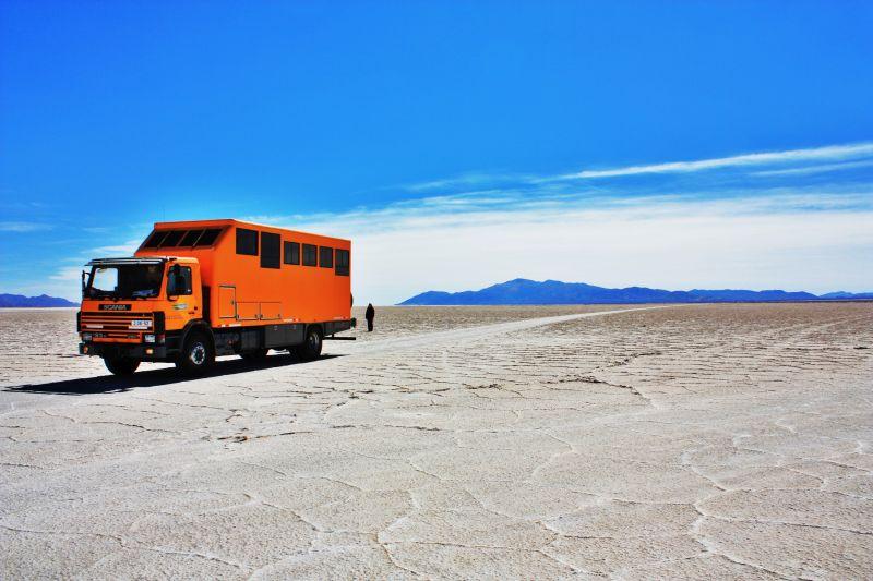Overlanding Bolivian salt flats