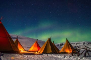 Tipis under Northern Lights