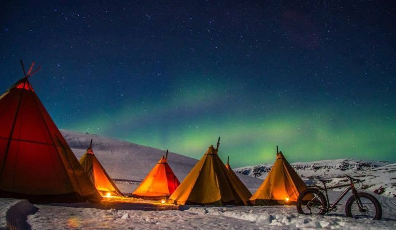 Tipis under Northern Lights