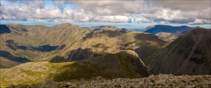 Image of Scafell Pike and the surrounding mountains in the Lake District