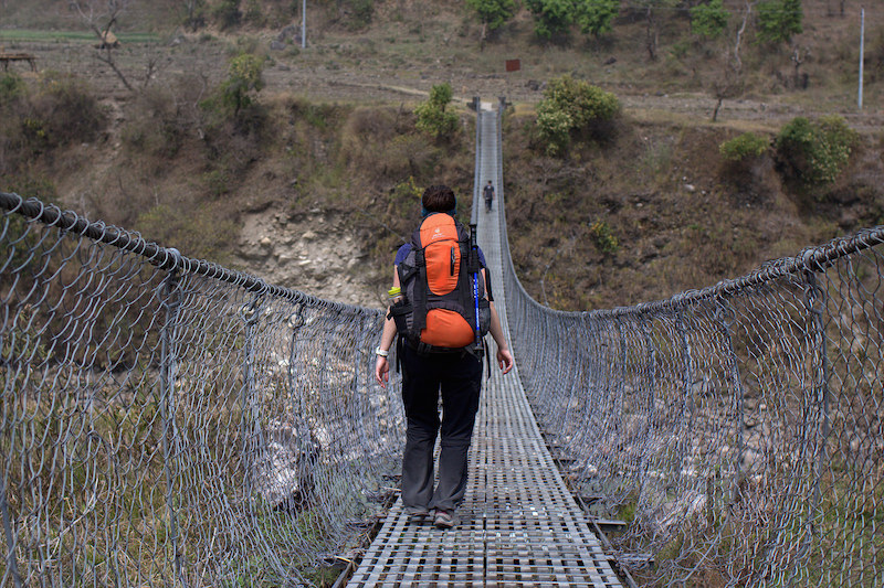 Suspension bridge on Annapurna Circuit